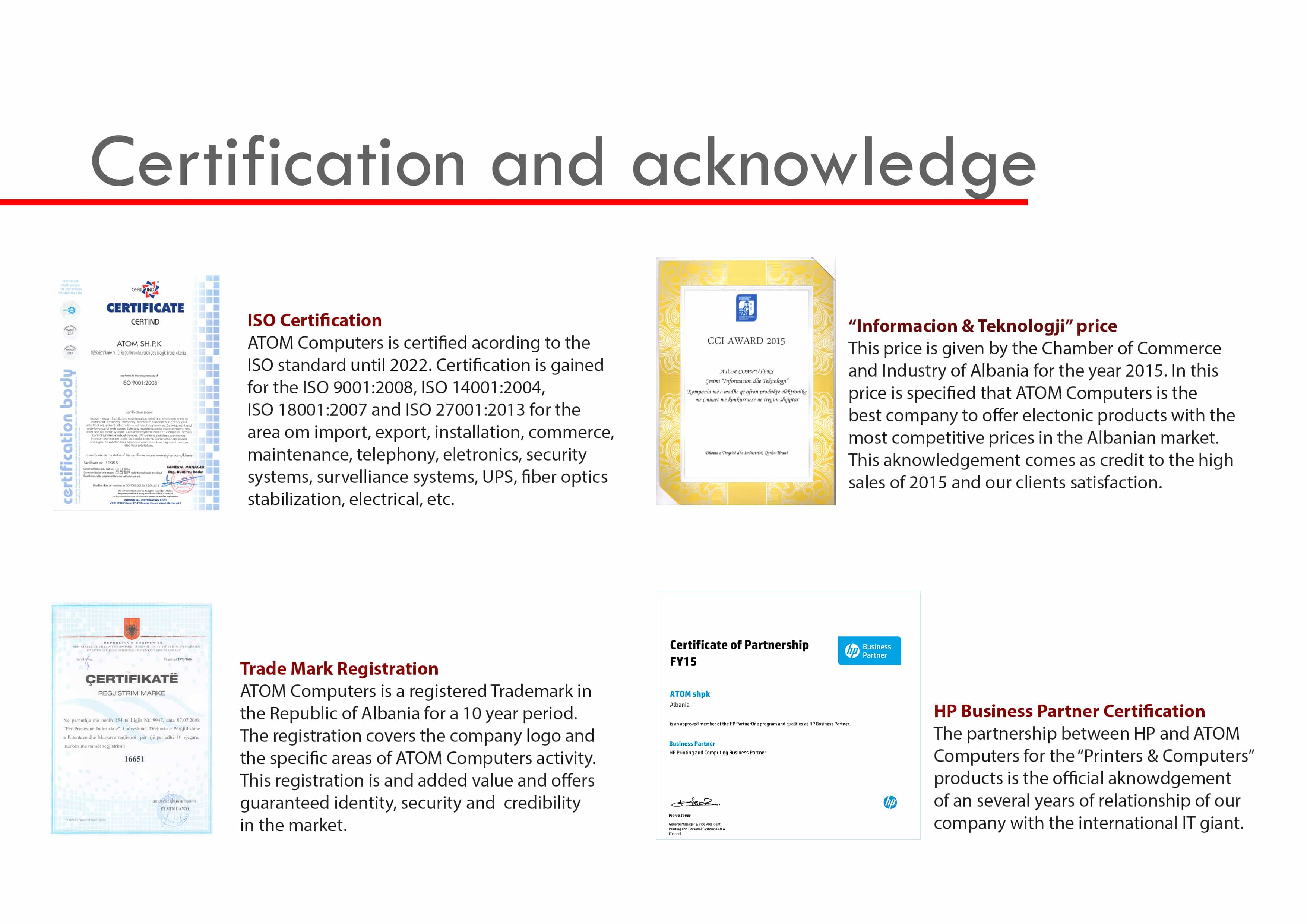 Certification and Aknowledgement